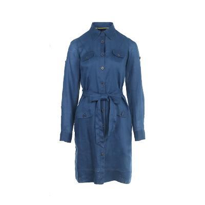 pocket detail shirt dress blue